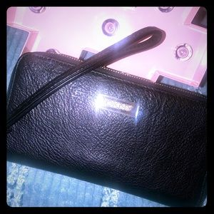 DKNY Saffiano Leather Double Zip Around Wallet